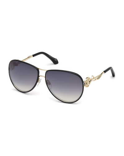 Intertwining Gradient Aviator Sunglasses, Black