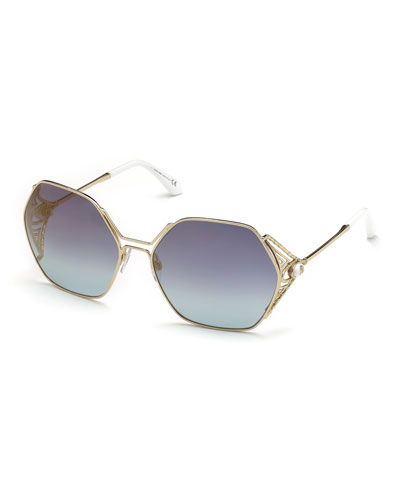 Hexagon Gradient Metal Sunglasses, Blue