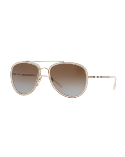 Steel Aviator Sunglasses w/ Check Arms