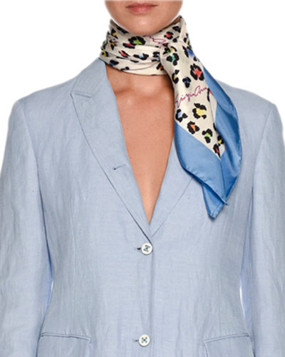Multicolor Leopard-Print Silk Twill Square Scarf