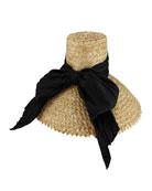 Mirabel Straw Sun Hat w/ Large Satin Bow, Neutral Pattern