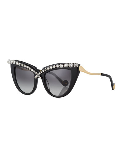 Lusciousness Cat-Eye Crystal Sunglasses, Black