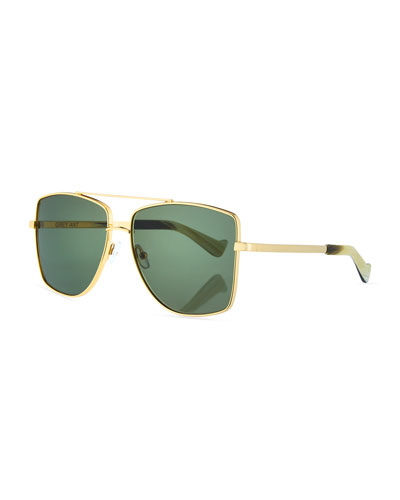 Dempsey Metal Square Sunglasses, Gold