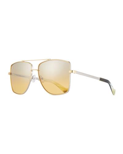 Dempsey Mirrored Square Sunglasses, Silver