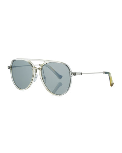 Praph Acetate Aviator Sunglasses, Clear