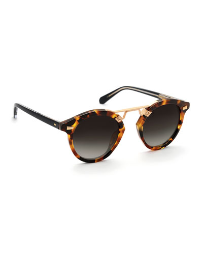 St. Louis II Two-Tone Round Acetate Sunglasses, Rose Gold