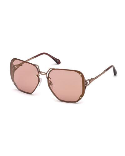 Square Rimless Gradient Sunglasses, Rose Gold