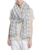 Linen Cotton Plaid Scarf