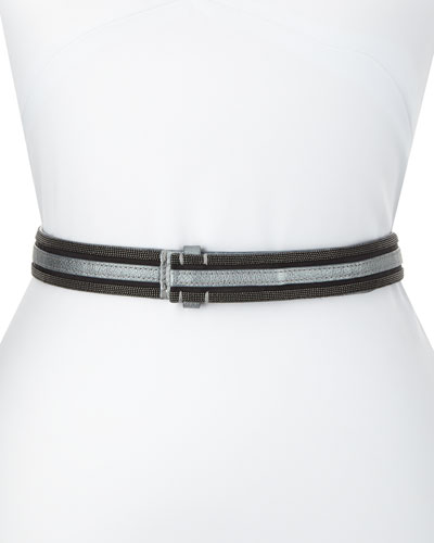 Metallic Leather Tubular Monili Belt