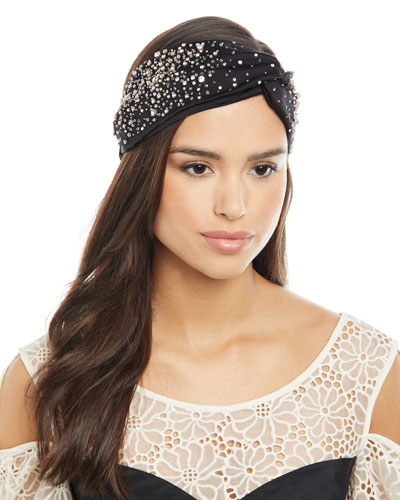 Silk Satin Turban Head Wrap w/ Scattered Crystals