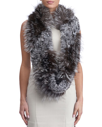 S-Cut Fur Infinity Knit Scarf