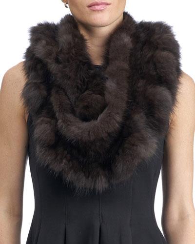 Knit Fur Infinity Scarf, Brown