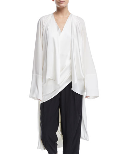 V-Neck Long-Sleeve Draped Cocoon Silk Coat