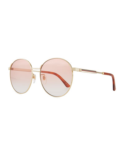 Retro-Inspired Round Metal Web Sunglasses