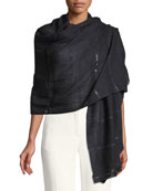 Wool-Silk Stole Delicacy w/ Sequins