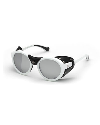 Round Acetate Sunglasses w/ Leather Trim, White/Black