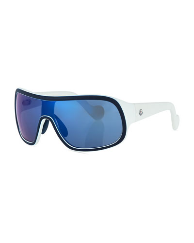 Mirrored Shield Sunglasses, Dark Blue