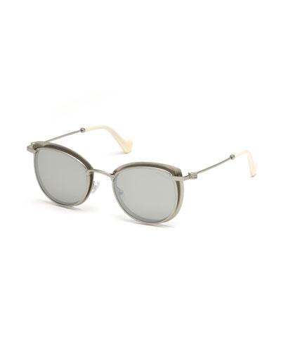 Metal Cat-Eye Mirrored Sunglasses, Gray Pattern