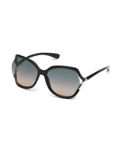 Open-Temple Oval Sunglasses