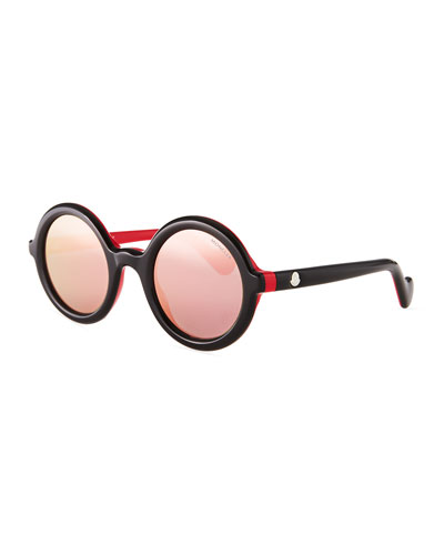 Two-Tone Acetate Round Sunglasses