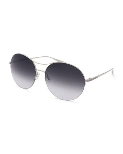 Mahina Round Gradient Sunglasses, Gray
