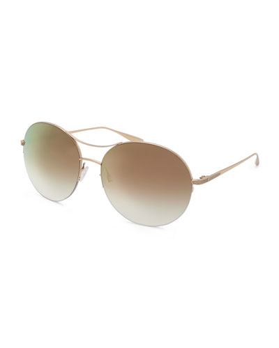 Mahina Round Mirrored Sunglasses, Gold
