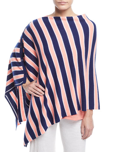 Minnie Rose STRIPED CASHMERE PONCHO, PLUS SIZE