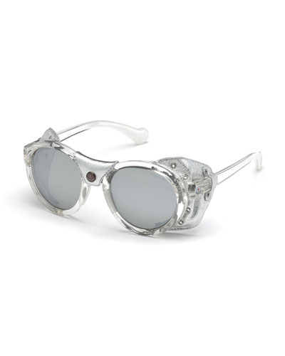Transparent Acetate Round Sunglasses w/ Leather Trim, Gray