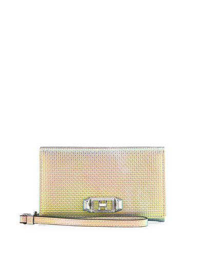 Lovelock Iridescent Leather Wristlet Phone Bag - iPhone X