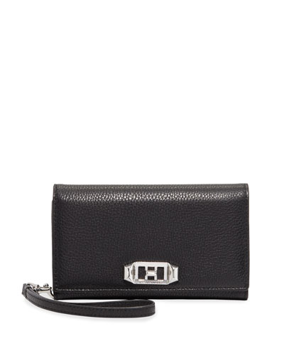 Lovelock Leather Wristlet Phone Bag with Silvertone Hardware - iPhone 8/7 Plus