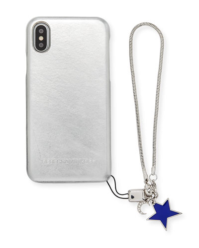 Metallic Phone Case with Charm for iPhone X