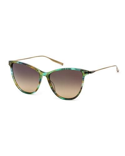 Nia Acetate & Titanium Round Sunglasses, Green Pattern
