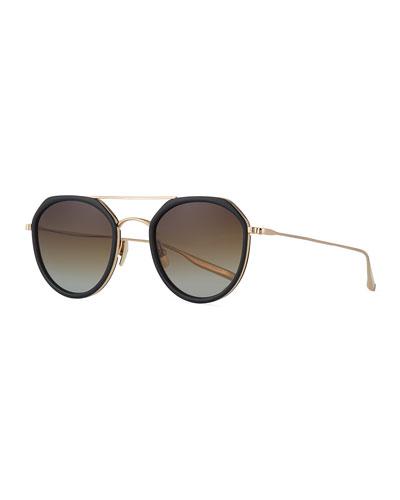 Acetate & Titanium Round Polarized Sunglasses