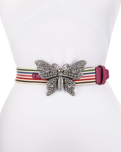 Animalier Striped Canvas Belt w/ Crystal Butterfly Buckle