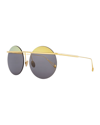 Minguu Rimless Round Metal Sunglasses