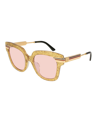 Metal & Glittered Acetate Square Sylvie Web Sunglasses, Gold
