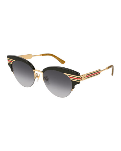 Metal & Acetate Cat-Eye Sylvie Web Sunglasses, Black
