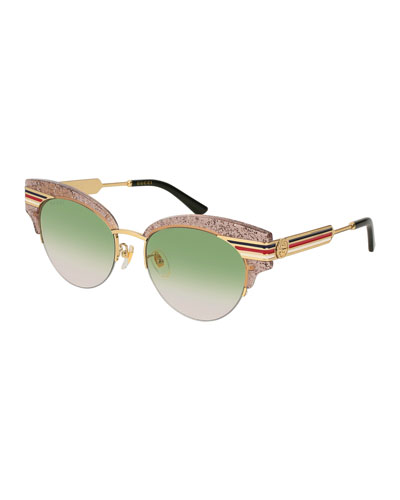 Metal & Glittered Acetate Cat-Eye Sylvie Web Sunglasses, Nude