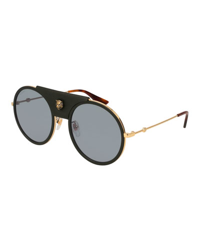 Round Web Sunglasses w/ Leather Trim, Gold/Black