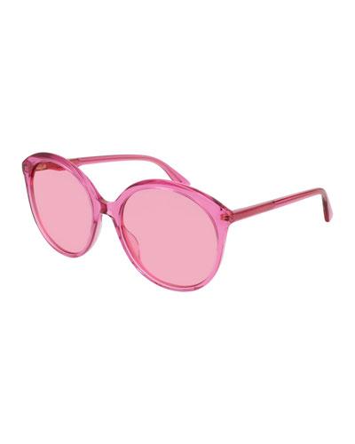 Semi-Transparent Round Acetate Sunglasses, Fuchsia