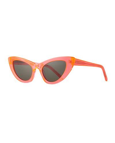 Lily Cat-Eye Acetate Sunglasses, Black