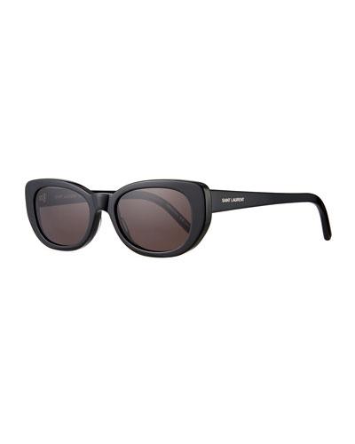 SL 183 Betty 66mm Acetate Shield Sunglasses, Black