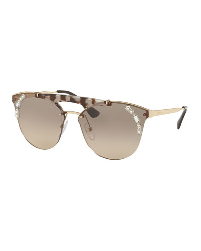 Round Gradient Sunglasses w/ Crystal Trim