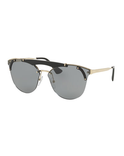 Round Metal Sunglasses w/ Contrast Trim, Black/Gold