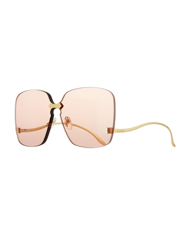 Rimless Square Low-Temple Polarized Sunglasses