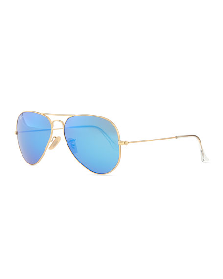 Ray-Ban Aviator Sunglasses with Flash Lenses