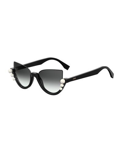 Blink Half-Rim Pearl Cat-Eye Sunglasses