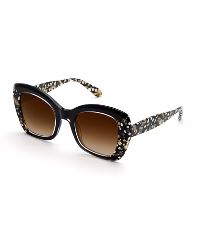 Felicity Contrast Acetate Butterfly Sunglasses