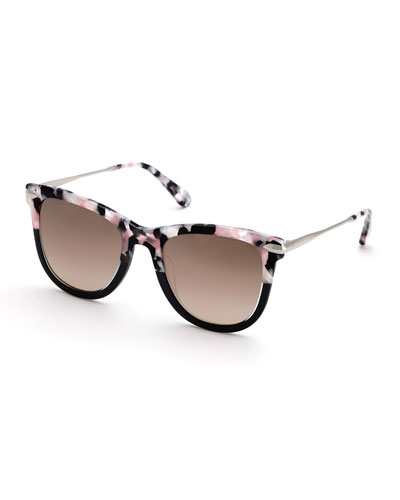 Simone Two-Tone Square Acetate Mirrored Sunglasses, Galactic