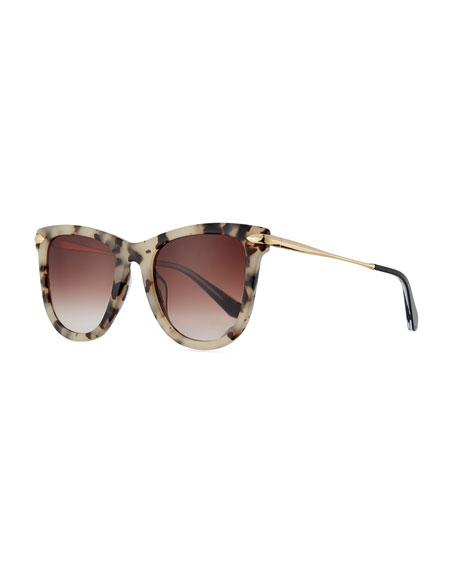 KREWE Simone Gradient Square Acetate Sunglasses, Oyster
